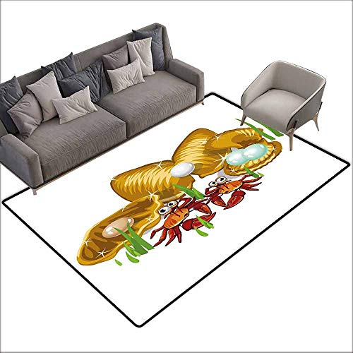 "Indoor Super Absorbs Doormat Crabs,Sea Life Theme Cartoon Style Three Gold Shells with Pearls and Crabs Drawn Print,Ginger Mustard 60""x 96"",Modern Area Rug with Non-Skid"