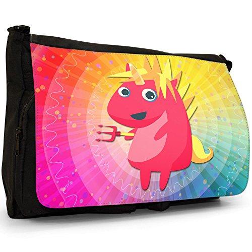 Laptop Shoulder Up Canvas Bag Messenger Devil Trident Large School Dressing Black Unicorns With Mythical Dressed Magical As wn8qtPxCA