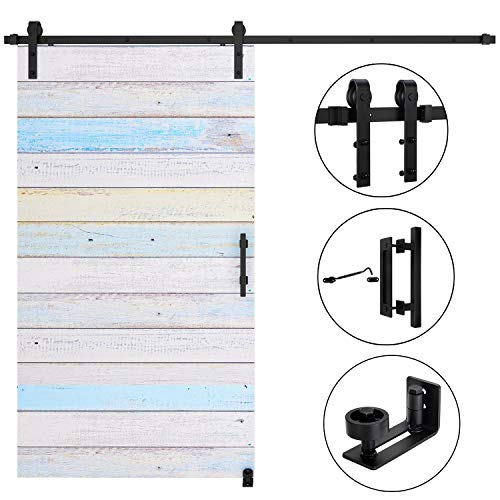 Single Door Rail - EaseLife 8 FT Heavy Duty Sliding Barn Door Hardware Track Kit Whole Set Include 12'' Handle & 6'' Latch Hook & Floor Guide | Sturdy | Slide Quiet | Fit up to 48