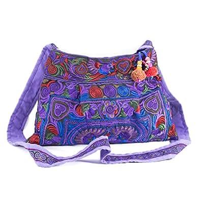 Amazon Com Changnoi Purple Bird Hmong Bag Hill Tribe Bags