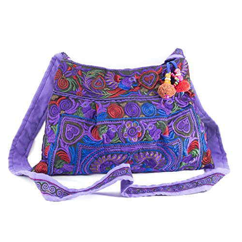 Changnoi Purple Bird Hmong Bag Hill Tribe Bags Thai Handmade Handbags Embroidered Strap Fair Trade
