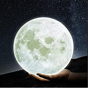 GPJOY Moon Lamp 3D Printing Moon Night Light Rechargeable Lunar Night Light, Dimmable Touch Control Brightness Warm and Cool White, Home Decorative Light with Wooden Stand, Diameter 5.7 Inch