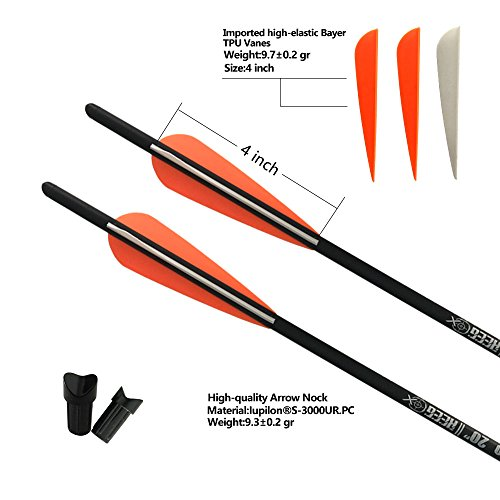 REEGOX 20 inch Carbon Crossbow Bolts Bio with 4-Inch Vanes(Pack of 12) Orange