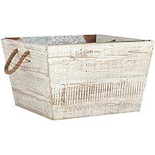 "Stone & Beam Modern Farmhouse Wood and Metal Storage Bin, 15.75"" W, White"
