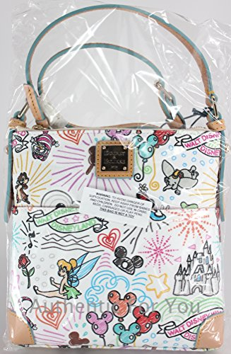 amp; Dooney Crossbody Purse Letter Disney Bourke Carrier Sketch White f65Aqqw