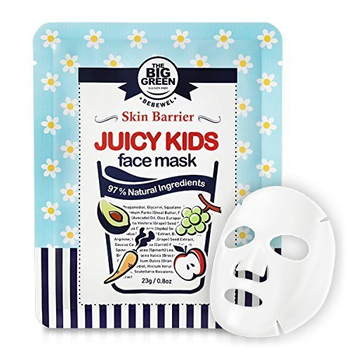 [Big Green Natural Juicy Kids Face Mask 0.8 oz- 5 Sheets,Soothing,Healing-Moisturizing,Calming,Ecocert Certified Squalane,Vitamins & Mineral] (Kids Face Mask)