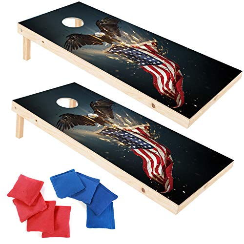 (EXERCISE N PLAY Wood Premium Cornhole Set, Cornhole Toss Game Set, Bean Bag Toss Game, Regulation Size 4ft x 2ft Cornhole Boards & 8 Bags Playset, Backyard Lawn Cornhole Outdoor Game Set (Bald Eagle))
