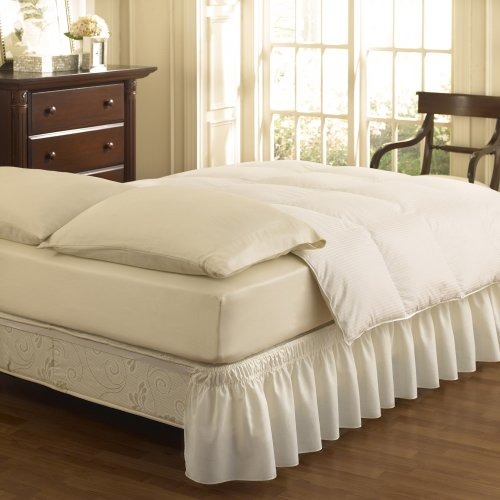 Easy Fit Solid Wrap Around Easy On/Off Dust Ruffle 18-Inch Drop Bedskirt, Twin/Full, White ()