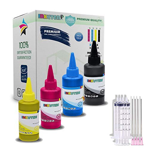 4 Colors (4 x 100ml) - INKUTEN Refill Dye Ink Kit for Brother LC203 LC 203 LC205 LC207 Ink Cartridges with Syringes Black, Cyan, Magenta, Yellow Ink for CISS CIS Cartridges