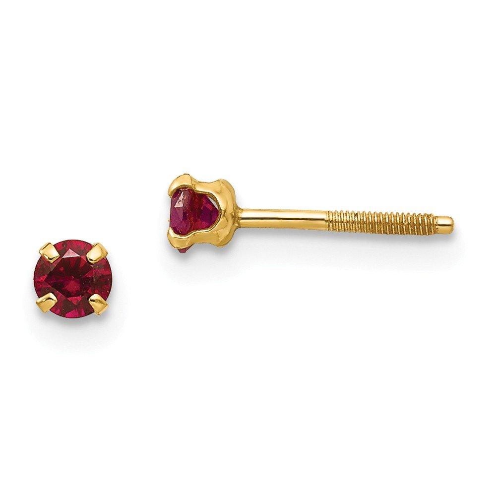 14K Madi K 3mm Synthetic Garnet Earrings