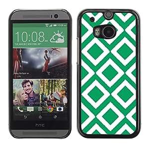 Cubierta de la caja de protección la piel dura para el HTC ONE M8 2014 - Irish tile art white pattern