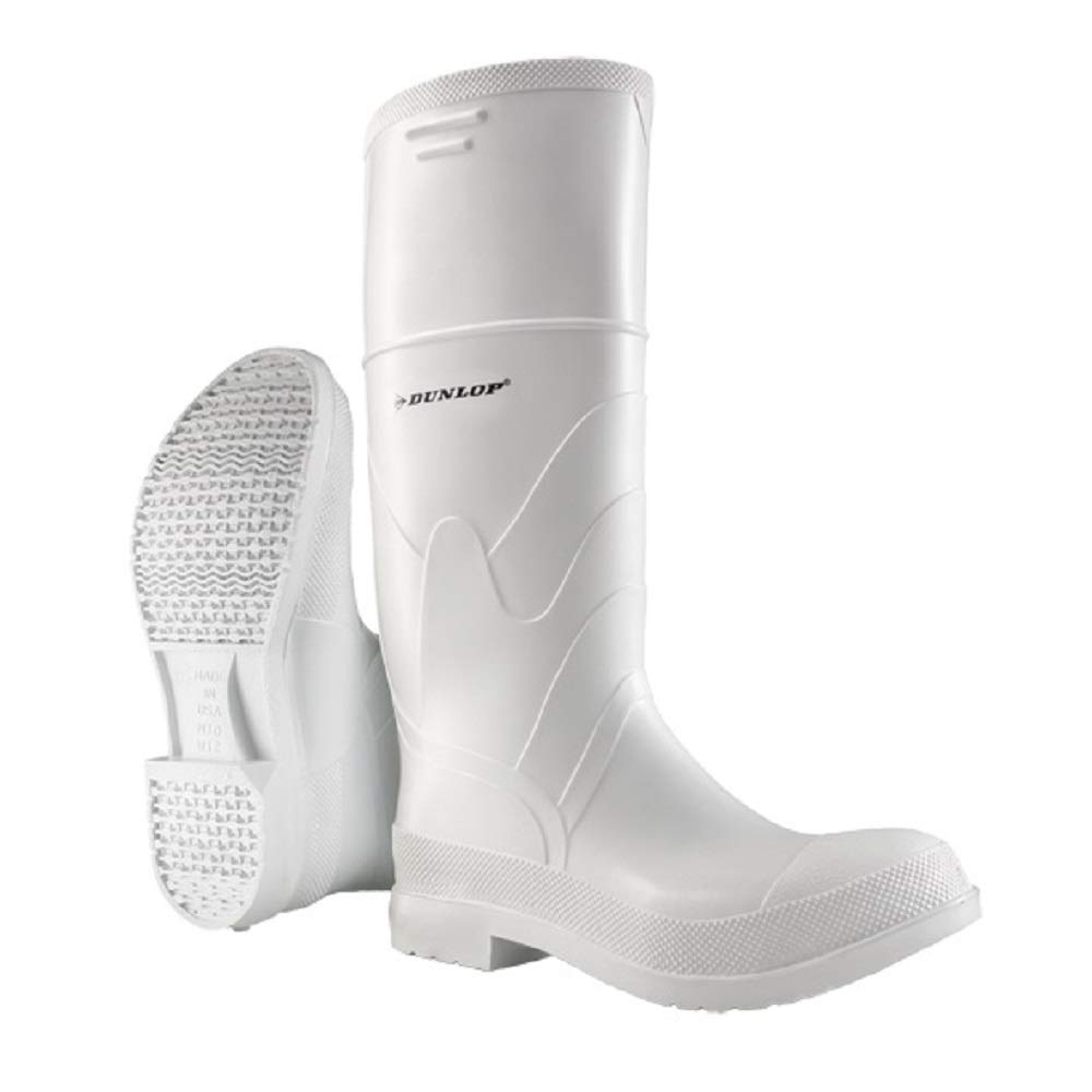 Dunlop 8101111 White PVC Boots, 100% Waterproof PVC, Lightweight and Durable Protective Footwear, Slip-Resistant, Size 11