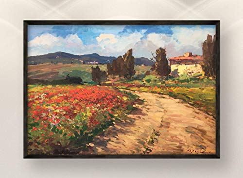 Tuscany Landscape Painting on Canvas Original Italy Country with Poppies Home Decor Large Wall Art Gift