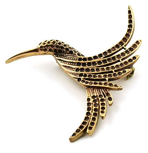 Brooch Pin Free Ship - LynnAround Bronze Gold Hummingbird Brooches, Clothes Fasteners - Cloak Pin, Shawl Pin, Scarf Pin, Nature Jewelry (Brooch V.2)