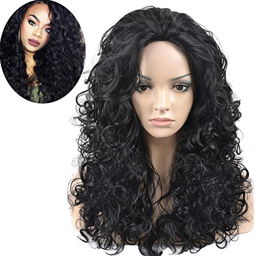 RightOn 25'' Long Curly Premium Full Body Wave Synthetic Wig for Black Women Natural Loose Wave Curl Wigs Hairnet Included (Black) (Long Curl Wig)