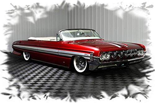 Mouse Pad 1961 Oldsmobile Starfire Convertible Blazing Red Metallic Picture on Mousepad Classic Vintage Old Cars