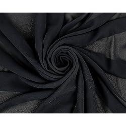 Chelsea Wool Dobby Chiffon Fabric (BLACK)