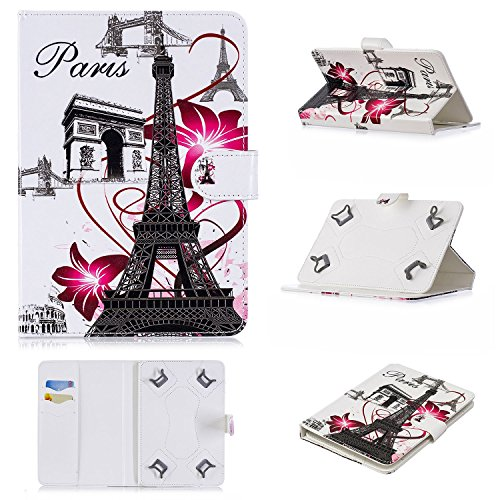 se for 9-10 inch Tablet, Magnetic PU Leather Folio Stand Cover with Cards Slots for 9