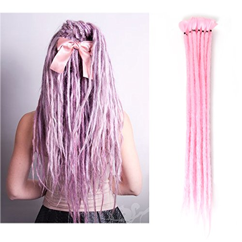 20 inch 100% Handmade Dreadlocks Extensions Fashion Reggae Hair Hip-Hop Style Soft faux locs Crochet Braiding Hair For Women/Men (Pack of 10Pcs, Pink - Male Styles Loc