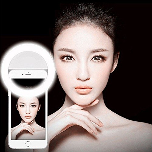 OVTECH Selfie Ring Light for Camera Selfie LED Light [36 LED] Pearl White Light Clip On Phoens, Fill Light for iPhone iPad Sumsung & Other Phones, Powered by Batteries (White) by OVTECH
