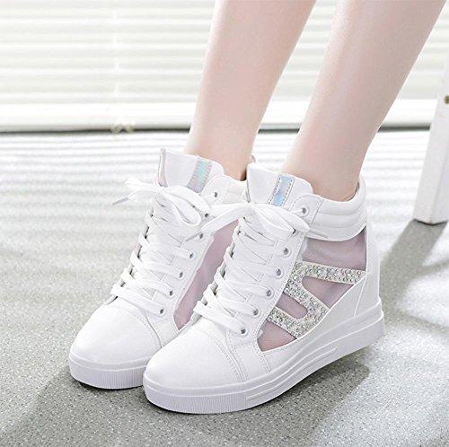 Frau Frühling Aufzugsschuhe Strass Mesh Schuhe atmungsaktive Schuhe Steigung mit high-top Schuhe Frau , US6.5-7 / EU37 / UK4.5-5 / CN37