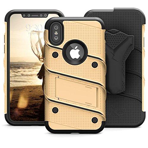 Zizo Etui avec Protection d'écran/Béquille pour iPhone X Or/Noir