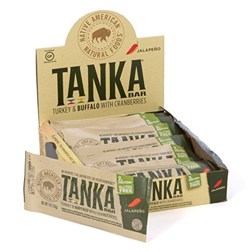 Tanka Turkey and Buffalo Meat with Cranberries, Jalapeno, Protein Bar, Beef Jerky Alternative, Gluten Free Snacks, Paleo, Pack of 12 Bars Beef Ground Jerky
