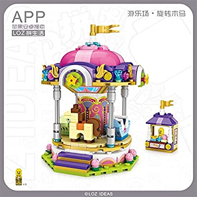 LOZ Carousel Carrousel Play Ground Series NO.1720 Mini Building Micro Blocks Compatible Nano Brick Headz Chistmas/Bithday Gifts for Kids DIY Figures Assemble Educational Toys Model Kits: Toys & Games