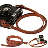 Brown whole leather Camera neck shoulder strap for Film SLR DSLR RF Leica Digital
