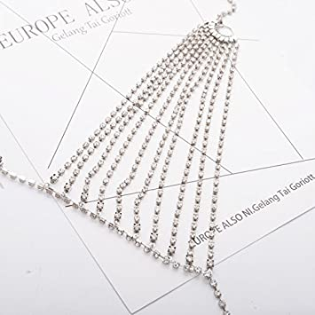 Leisial Collar Cadena de Sujetador Cuerpo con Rhinestone Borla Multicapa para Bikini Playa Collar del Arnes Joyer/ía Accesorios de Mujeres