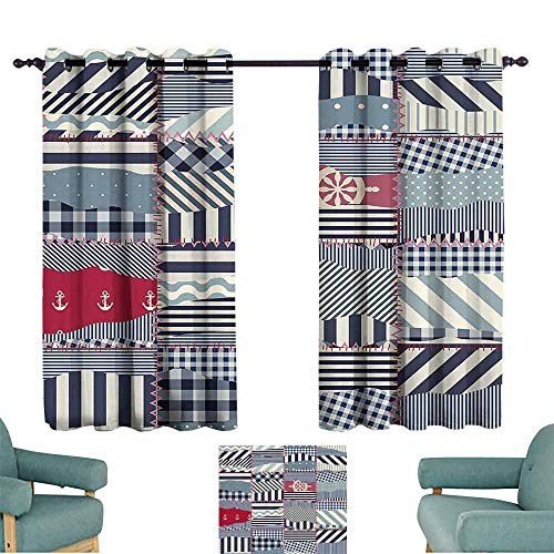 DILITECK Windshield Curtain Farmhouse Decor Wavy in Nautical Style with Lengthwise Lines and Anchor Shapes in Pieced Squares Blackout Draperies for Bedroom Living Room W72 xL72 Multi