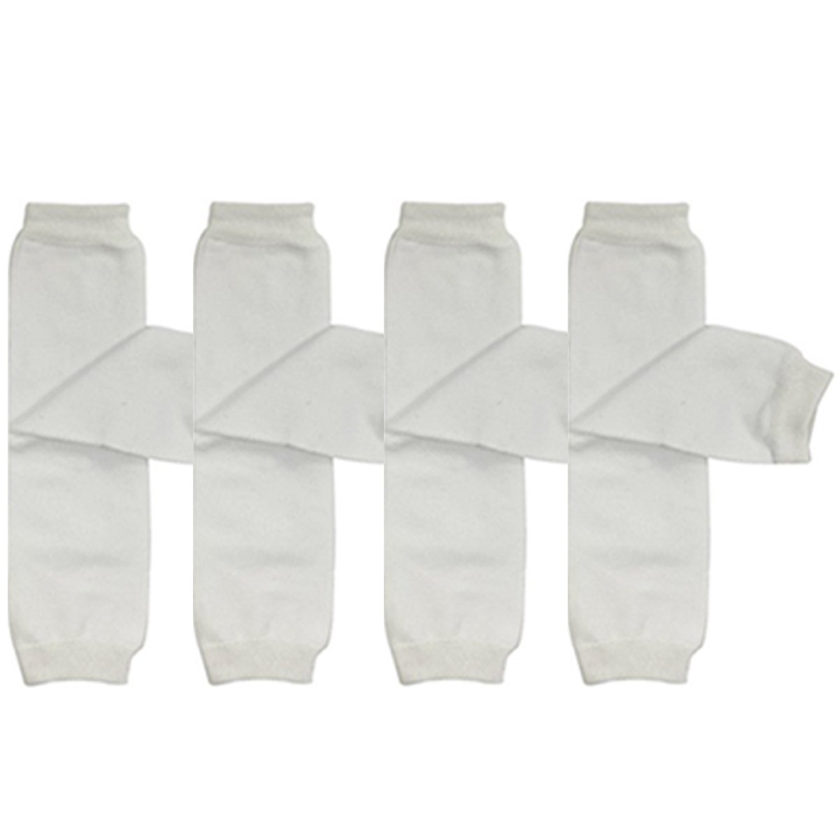 ALLYDREW 4 Pack Solid Baby Leg Warmer Set & Toddler Solid Leg Warmer Set for Boys & Girls, White