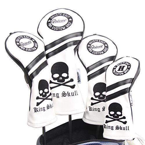 Golf Headcovers Pack 3 (Guiote Skull Vintage Style Golf Headcover #1#3#5 H Set PU Leather Emboridery Replaceable Number tabs (White))