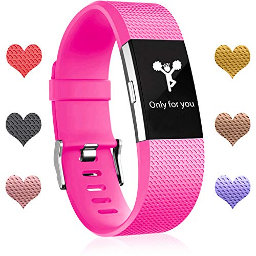 Wepro hui-194 Fitbit Charge 2 Bands, Replacement Bands for Fitbit Charge 2 HR, Buckle, Small, Rose Pink