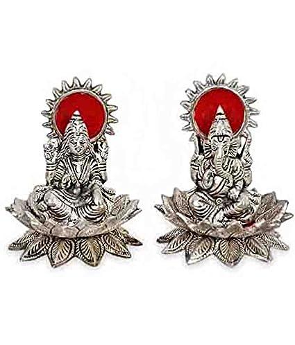 Buy rci handicrafts white metal laxmi ganesh statue on lotus flower rci handicrafts white metal laxmi ganesh statue on lotus flower silver plated for home decor exclusive mightylinksfo