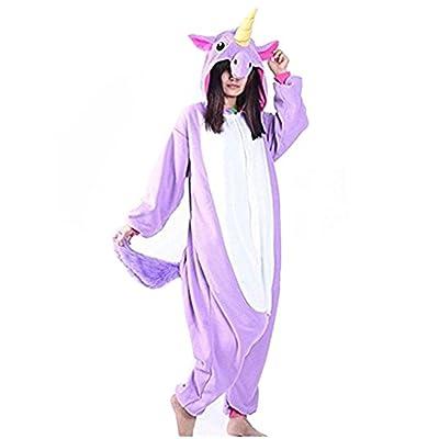 Adulte Animal Licorne Pyjama Nuit Vêtements Soirée de Déguisement Costume Cosplay (XL, Violet)