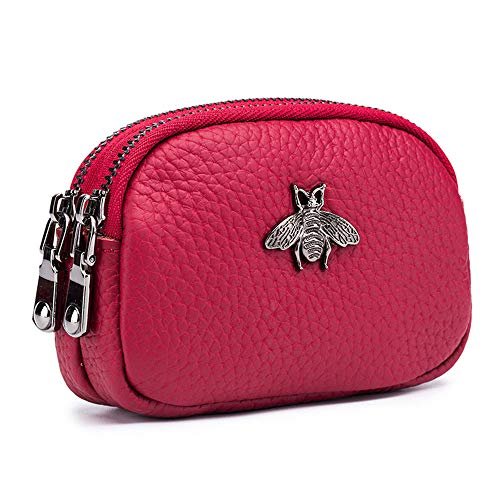 Aladin Genuine Leather Little Bee Hardware Design Double Zipper Coin Purse Change Coin Wallet Zipper Card Holder Wallet Wine Red