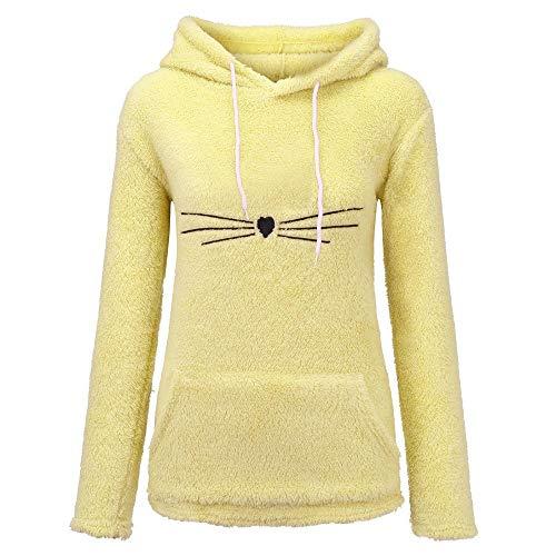 TOTOD Cute Pullover T-Shirt Jumper Women Long Sleeve Fleece Sweatshirt Girls Warm Cat Fuzzy Hoodie Animal ()