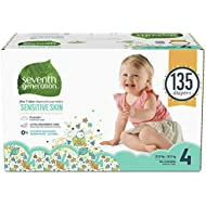 Seventh Generation Baby Diapers for Sensitive Skin, Animal Prints, Size 4, 135 count (Packaging May Vary)