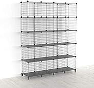 SIMPDIY Storage Cubes with Metal Wire Mesh 6 Cubes Bookshelf 37x12.5x37INCH Large Capacity Black Simple Storag