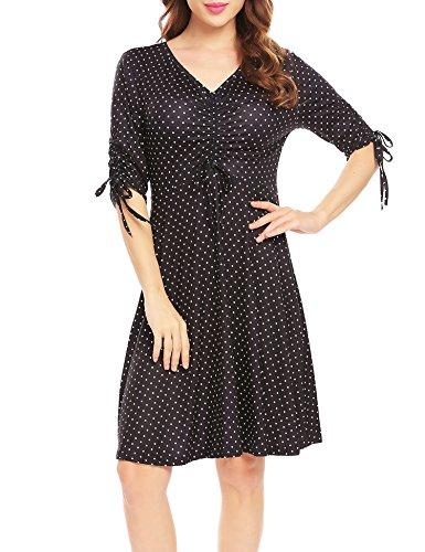eck Middle Sleeve Fashion Skirt Retro Wave Point Midi Dress (Pleats Polka Dots Skirt)