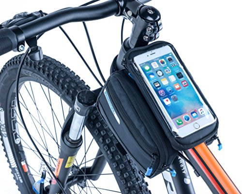 VertAst Bike Frame Bag Romovable Phone Holder Bicycle Front Top Tube Double Pouch for Iphone Samsung from VERTAST