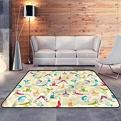 Camping Rugs for Outside,Doodle,Health Wellness GymnasticsW 35