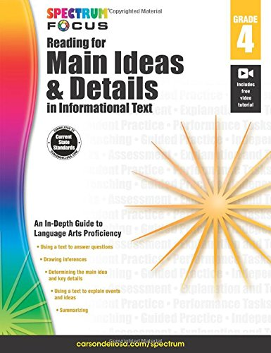 Spectrum Reading for Main Ideas and Details in Informational Text, Grade 4 (Spectrum Focus) - Main Idea Comprehension Book