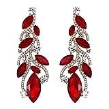 EVER FAITH Austrian Crystal Bohemia Bridal Leaf Dangle Earrings for Bride, Bridesmaid Red Gold-Tone