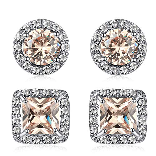 Quinlivan Duo 2pairs Cubic Zirconia Stud Earrings 10mm, Round Square Cut Rhinestone Halo Earrings Hypoallergenic for Women, Girls (light champagne)