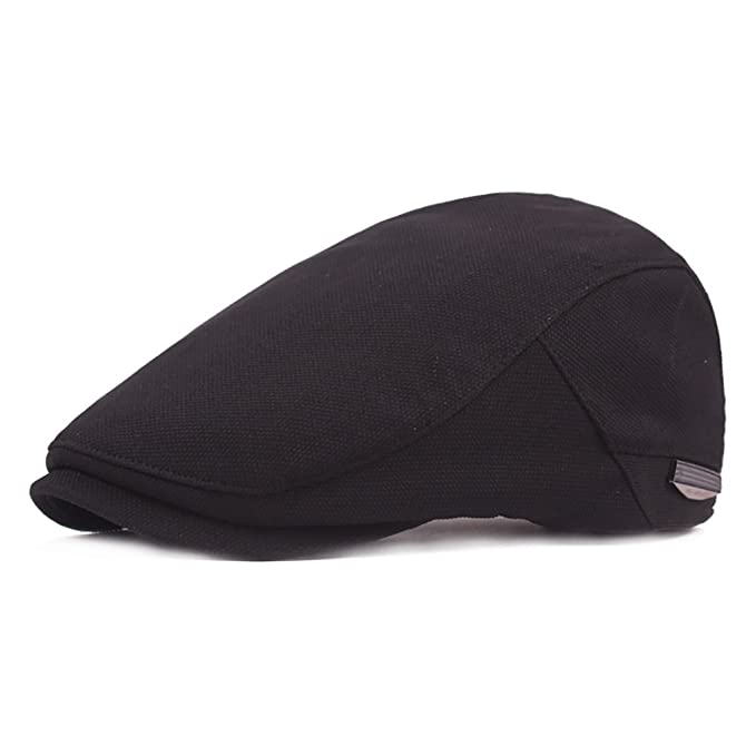 466f7baf10a RICHTOER Beret Flat Caps Newsboy Cap Woolen Flat Cap Man Autumn Winter Warm  Hat (Black