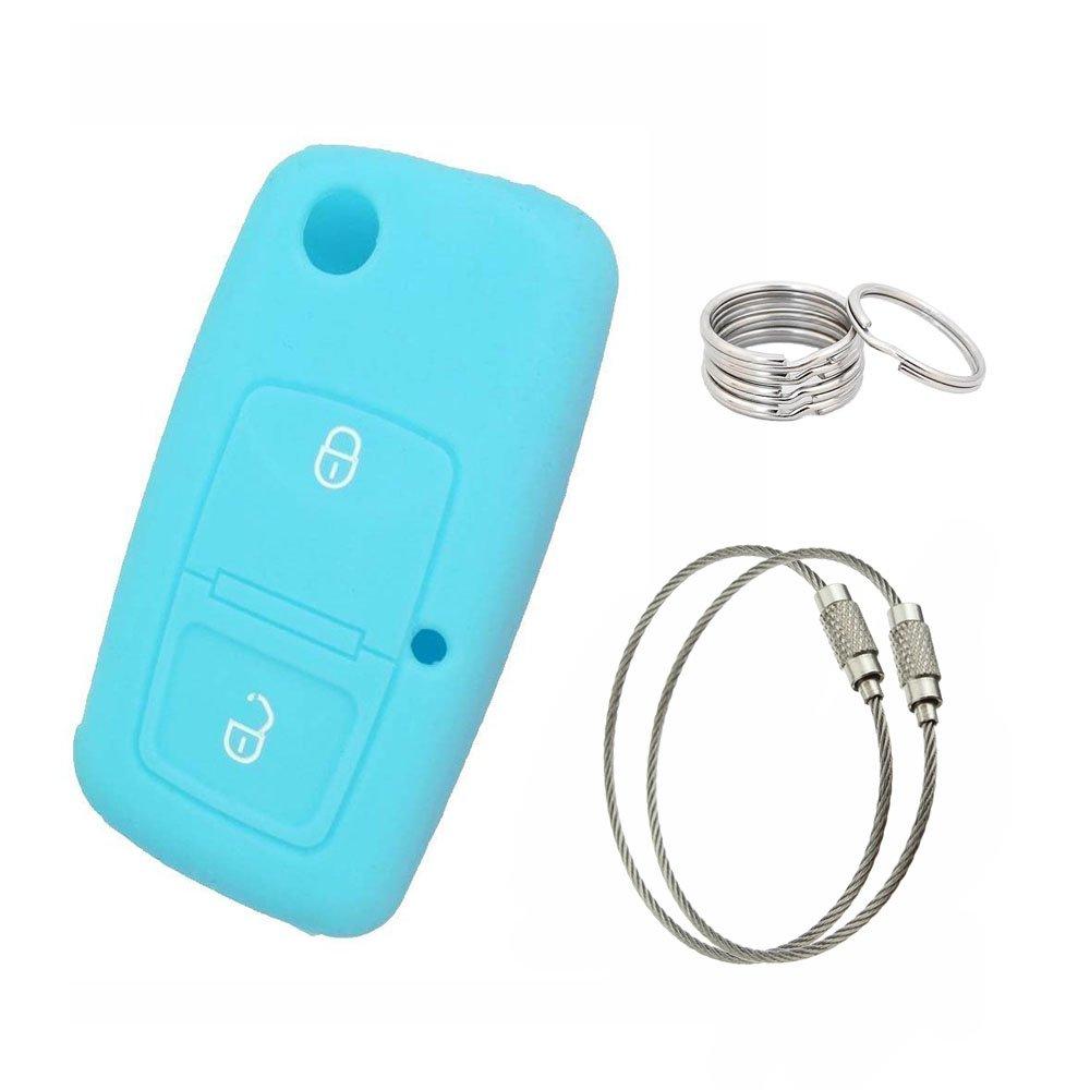 Muchkey Silicone 2 Button Flip Remote Key case Rose+Key chain 150mm 2pcs+Key Ring 30mm 5pcs For VOLKSWAGEN SKODA