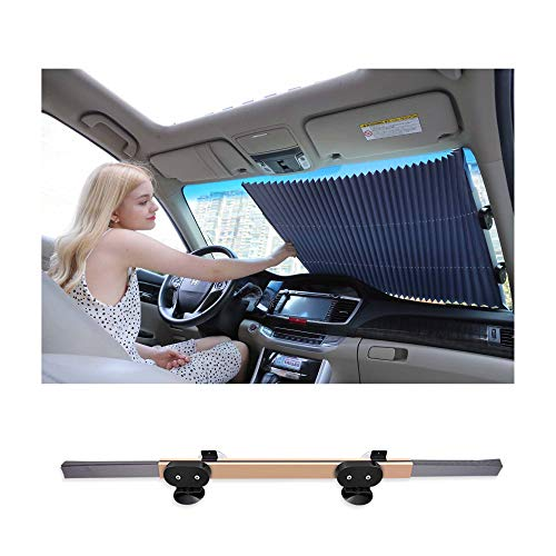 HHJJ Universal Retractable Car Sun Shade for Windshield Foldable Auto Sun Shade Cover for Most Car Trucks SUV UV Protection Front Windows,Gold,70cm(27.5inch)