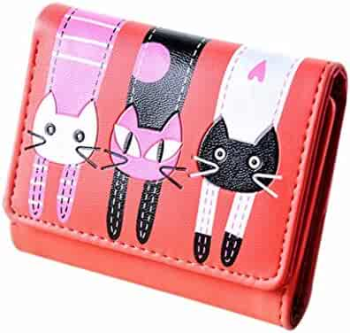 Wobuoke Womens Wallet Cute Cat Wallet Coin Purse Trifold Short Purse Card  Holders 5fb3c1b390744